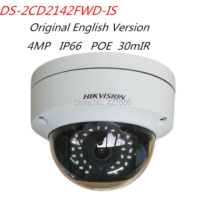 Hikvision Original English Version DS-2CD2142FWD-IS 4MP WDR Fixed Dome Network IP Camera POE Audio/Alarm IO CCTV Camera