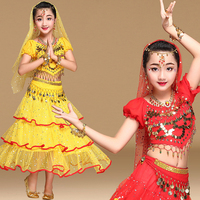 Bollywood Dance Costume Indian Costumes For Kids Belly Dance Wear Set 5 pieces Coins Belt Chiffon Long Skirt