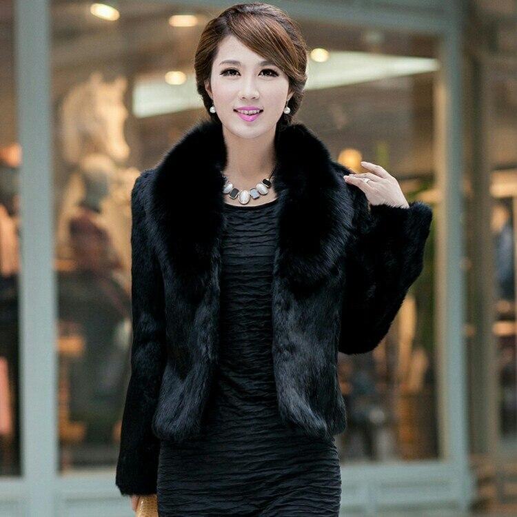 Autumn And Winter 2018 Slim Short Natural Full Pelt Rabbit Fur Coat Outerwear Women Jacket With Genuine Fox Fur Collar Plus Size
