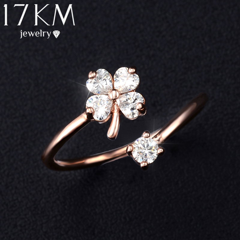 17KM Brand Beautiful Flower Natural Element Design Gold Color Ring ...