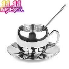De acero inoxidable taza de café royal oro plata piezas conjunto taza de la capa doble de cuchara de la placa