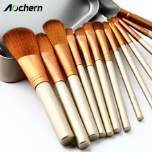 Aochern 12 pcs Women Professional Cosmetics Make Up Brushes For Powder Foundation Eyeshadow Lip Pincel Maquiagem With/No Box1001
