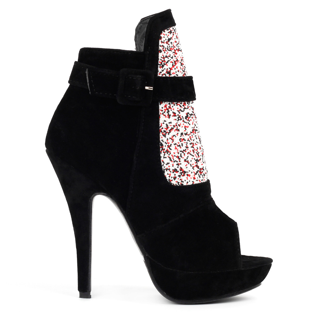 LF30304 Glam Black/Red Open Toe Platform Stiletto Ankle Bootie Pumps mld lf 1127 ankle supports