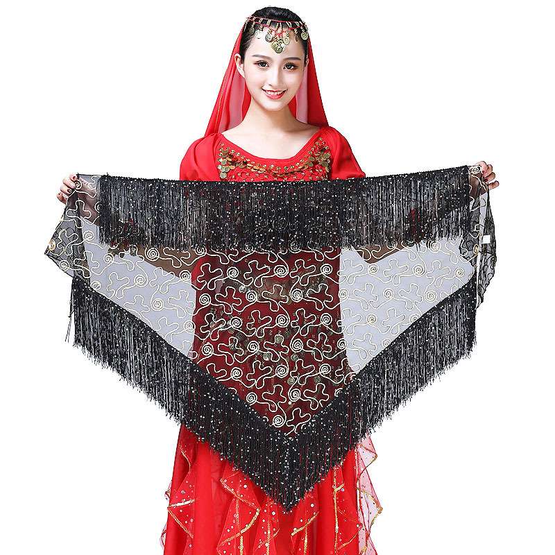 Colored Women Belly Dance Wear Costume Accessories Sequins Tassel Wrap Belt Mesh Net  Women Bellydance Hip Scarf