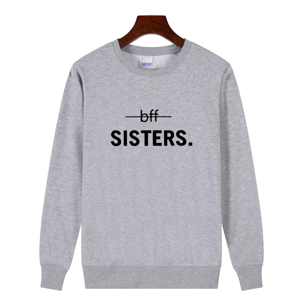 Women's O-neck Slim Hoodies BFF SISTERS Letters Printed Black White Long Sleeve Shirt Tops Sweatshirts Outerwear Pullover Autumn
