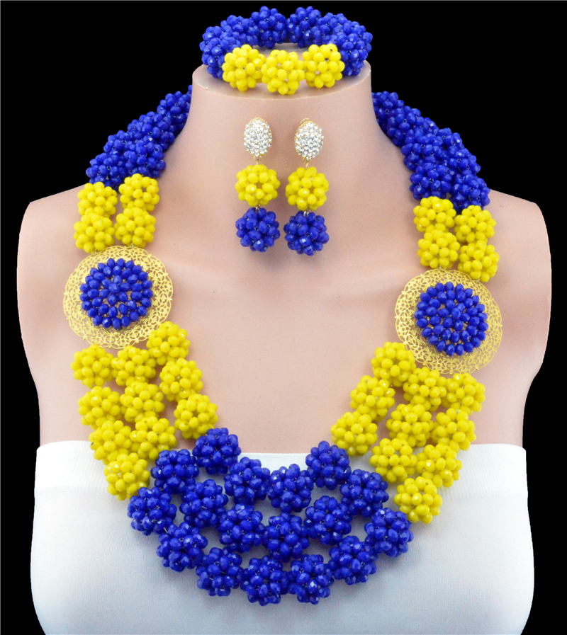2016 New Arrival Fashion Yellow Blue Mix Color Skeleton Crystal Ball Costume Jewelery Nigerian Wedding African Beads Jewelry Set2016 New Arrival Fashion Yellow Blue Mix Color Skeleton Crystal Ball Costume Jewelery Nigerian Wedding African Beads Jewelry Set