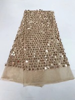 French Net Lace Fabric 2018 Latest African Guipure Lace Fabric With Embroidery Mesh Tulle Gold Cord