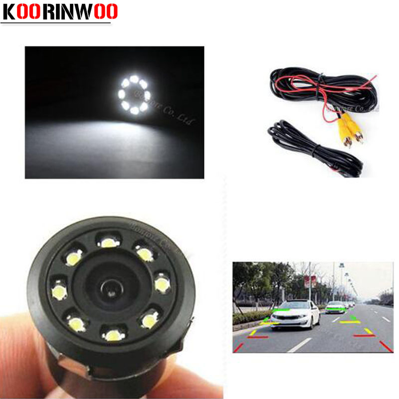 Koorinwoo Universal 8 LED Punch Invisible HD CCD Car Rear View camera Front Camera Video input Parking Assist Reverse Cam