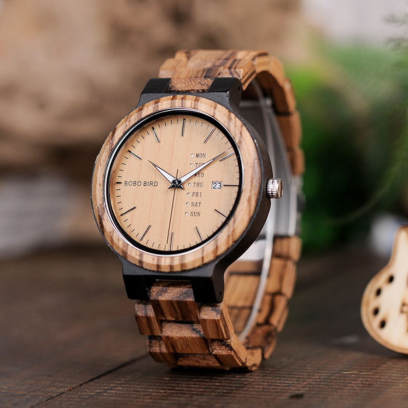 BOBO BIRD O26-1 Zebra Wood Army Military Watches for Men's Quartz Date wristwatch With Week Display In Gift Box Ship from Spain bobo bird c28 mens zebra wood wristwatch blue dial leather quartz watches in gift box relogio masculino mujer 2016