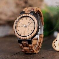 BOBO VOGEL O26-1 Zebra Hout Leger Militaire Horloges voor mannen Quartz datum horloge Met Week Display In Geschenkdoos Schip uit Spanje