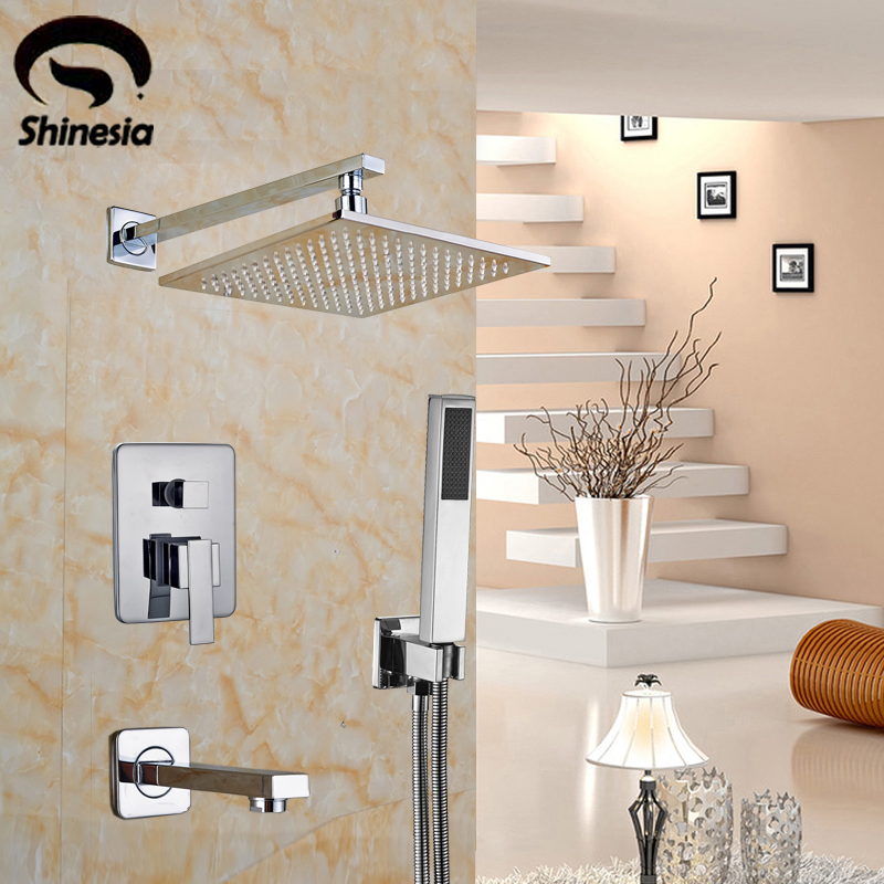 Chrome Polished 8 & 10 & 12 & 16 Inch Square Rain Shower Head + Hand Shower Bathtub Faucet Wall Mount Shower Faucet china sanitary ware chrome wall mount thermostatic water tap water saver thermostatic shower faucet
