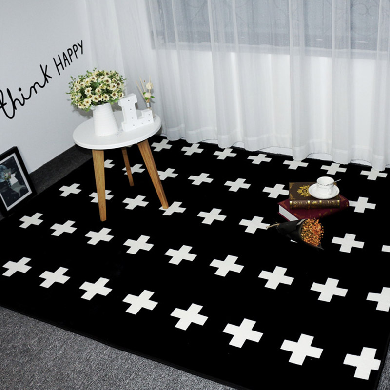 US $14.39 10% OFF|Mode Schwarz Weiß Kreuze Wohnzimmer Schlafzimmer  Dekorative Teppich Bereich teppich Badezimmer Boden Tür Yoga Baby Kinder  Kriechen ...