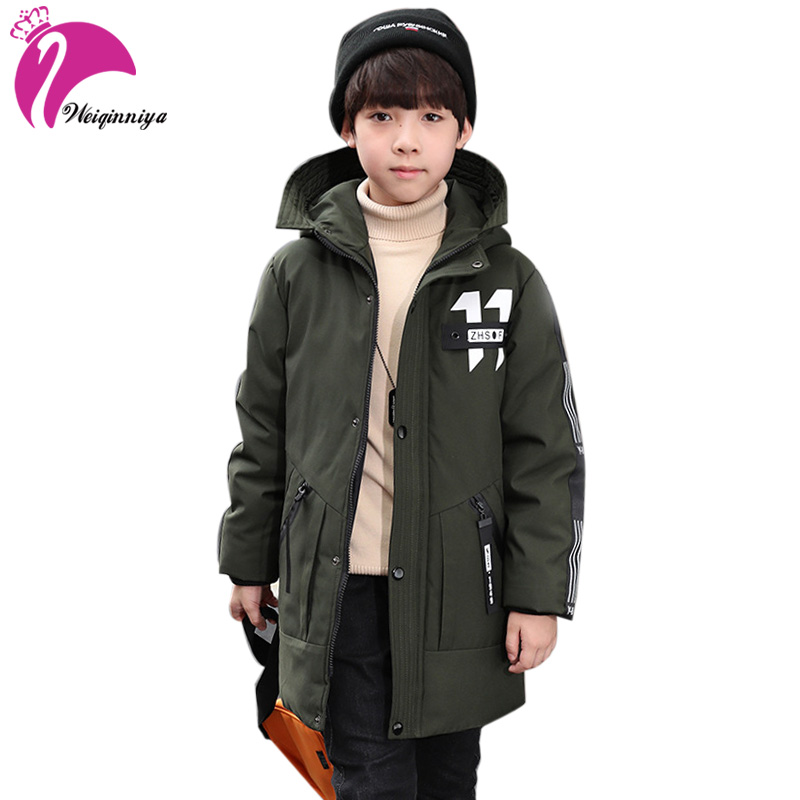 weiqinniya Boys Jacket Winter Kid Down Parkas Jackets For Boys Fashion Children Letter Thick Down Jackets Boy Hooded Long Jacket 2018 winter new children s down jacket fashion long hooded boy thick jacket down