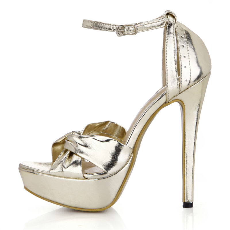 2016 New Gold Metallic PU Sexy Party Women's Shoes Open Toe Stiletto...