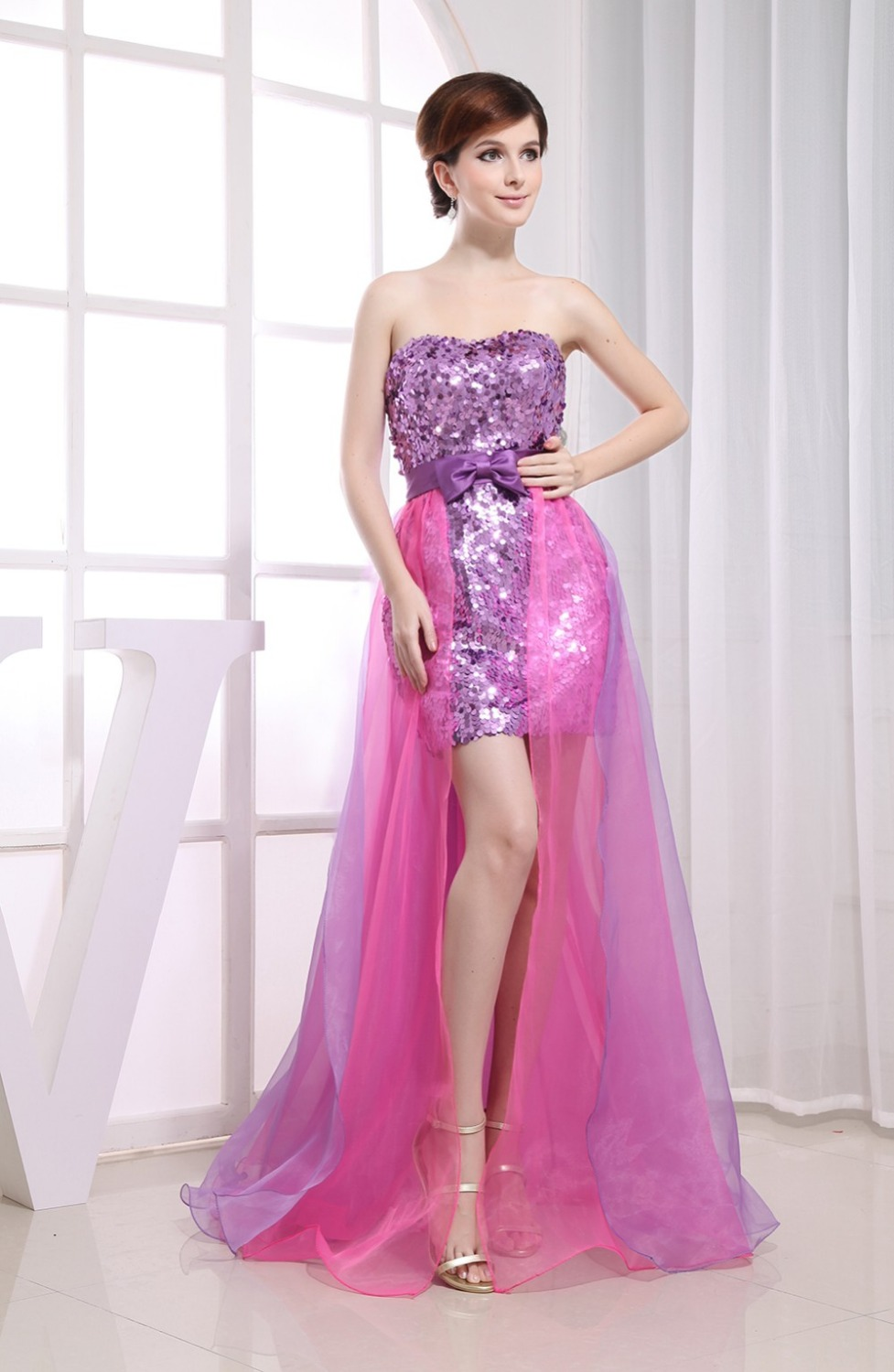 Real Photo 2 Two Piece Prom Dresses Removable Skirt Detachable Sexy