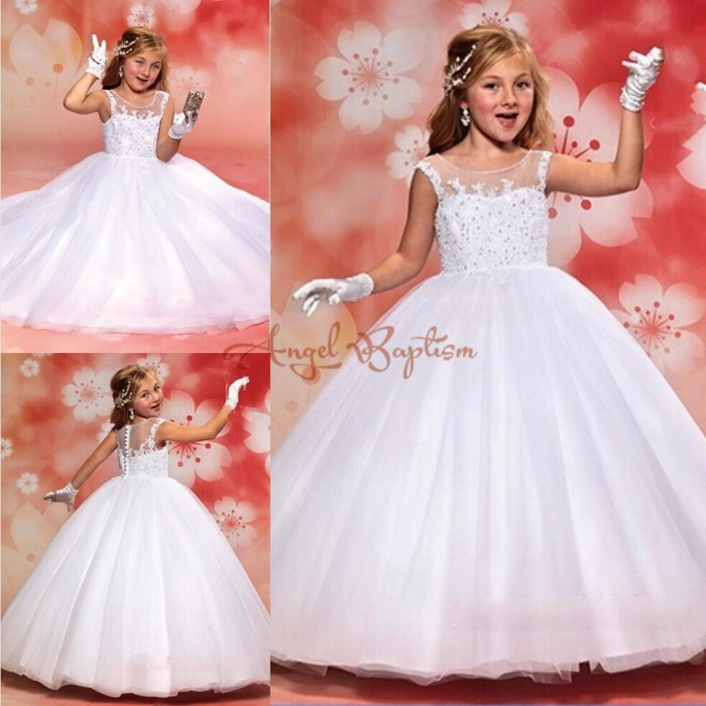 Bling white/ivory ball gown sheer lace beads crystals puffy flower girl dress for wedding the holy first communion dresses white ivory lace appliques crystals flower girl dress off the shoulder a line princess holy the first communion gown with train
