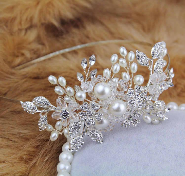 اليدوية الكريستال مطرز تصميم خاص العروس hairbands الزفاف رئيس قطعة