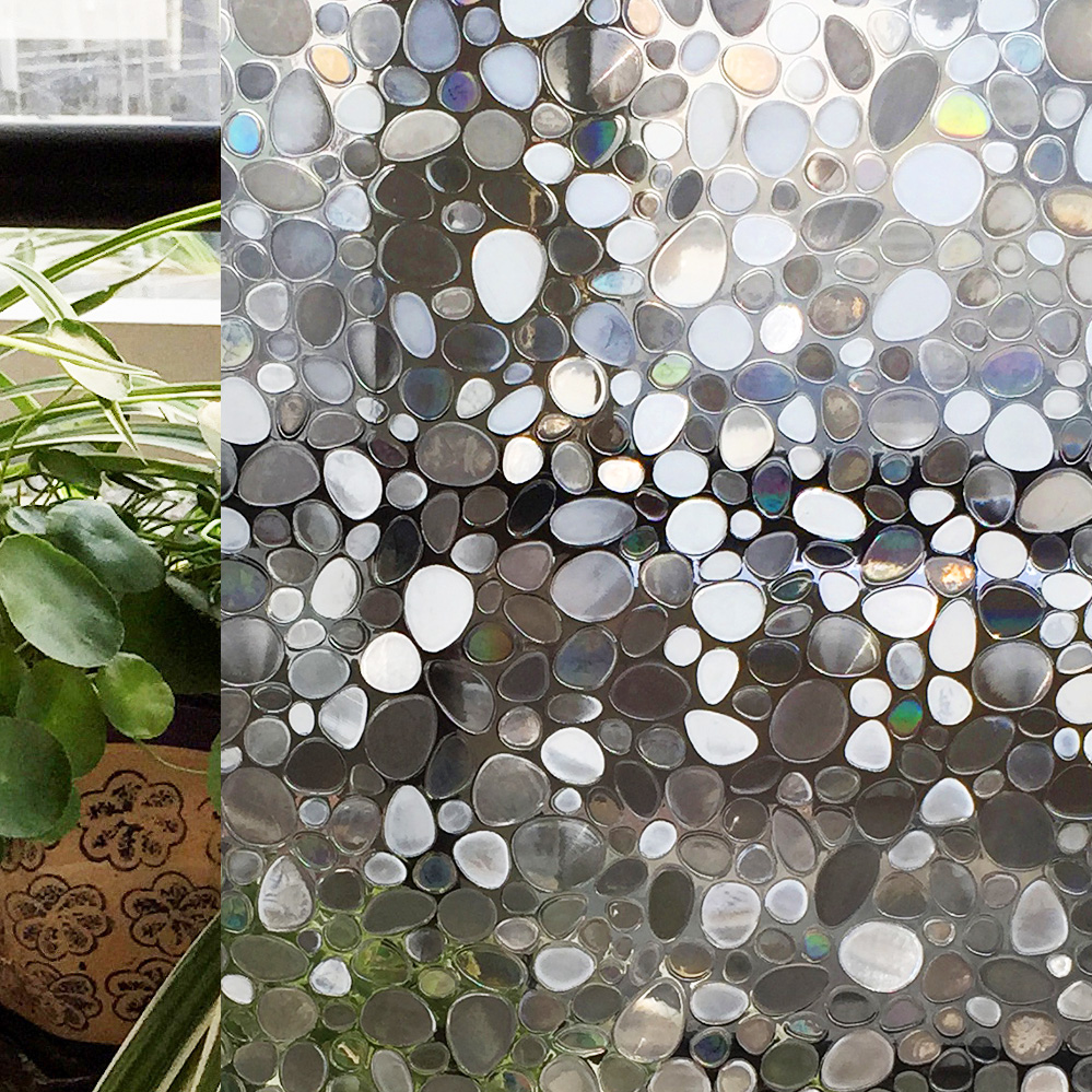 CottonColors Window Cover Films No Glue 3D Static Stone Decorative Privacy Film Window Stickers 60 x