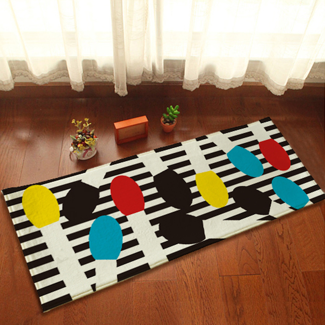 yazi Black White Stripes Doormat Colorful Matchstick Soft Plush ...