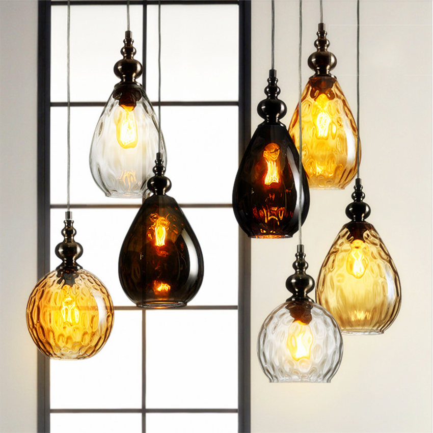 Lustre Vintage Glass Pendant Light Loft lampen Retro Pendant Lamp Coffee Droplight kitchen Hanging Suspension Luminaire ZXX0010