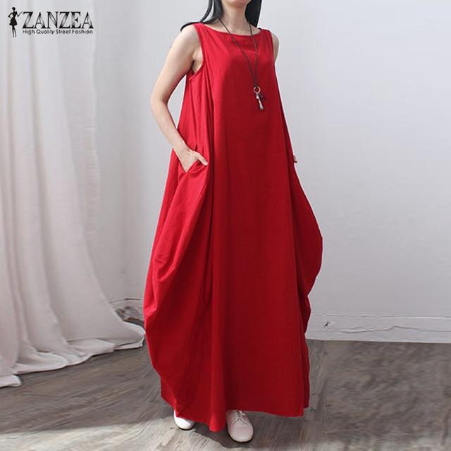 Zanzea mulheres 2017 moda verão de linho do vintage elegante sem mangas sólida dress casual solto vestidos longos maxi vestidos de grandes dimensões