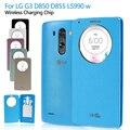 Casos de telefone para lg g3 d850 d855 ls990 w/carregamento sem fio chip preto círculo rápida janela inteligente pu de couro shell tampa da bateria