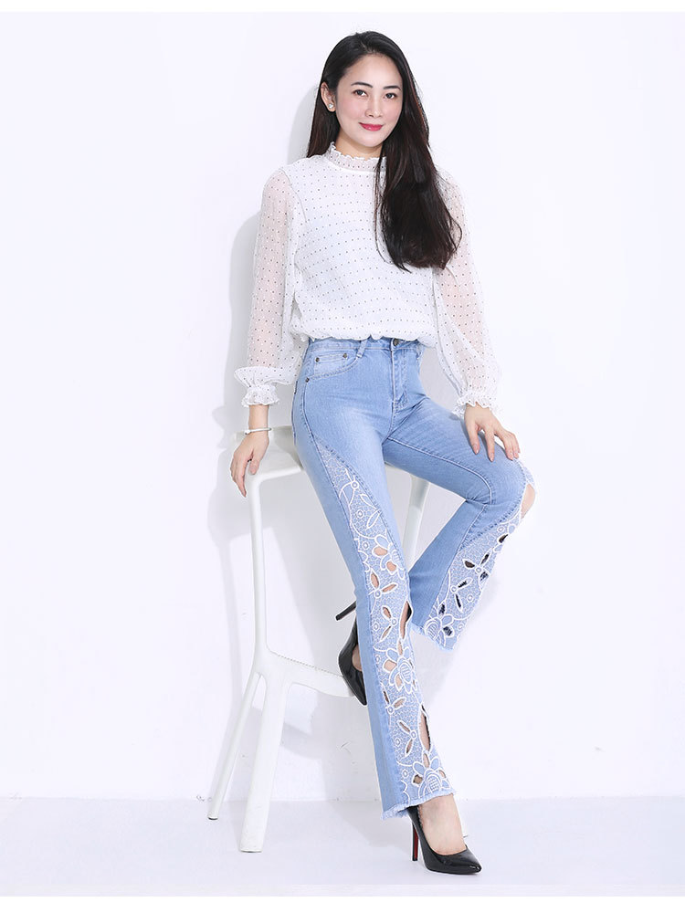 FERZIGE 2019 Autumn Newly Women Jeans High Waist Stretch Flare Pants Embroidered Floral Hollow Out S