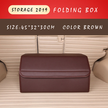 E-FOUR Car Elegant Trunk Box Leather Cloth Folding Rear Storage for Housing Out Door Camping Fashion