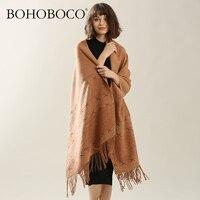 Stylish Wild Elegant Pure Wool Scarf for Women Ladies Long Scarves Woolen Loop Yarn with Tassels Femme Wraps Shawl