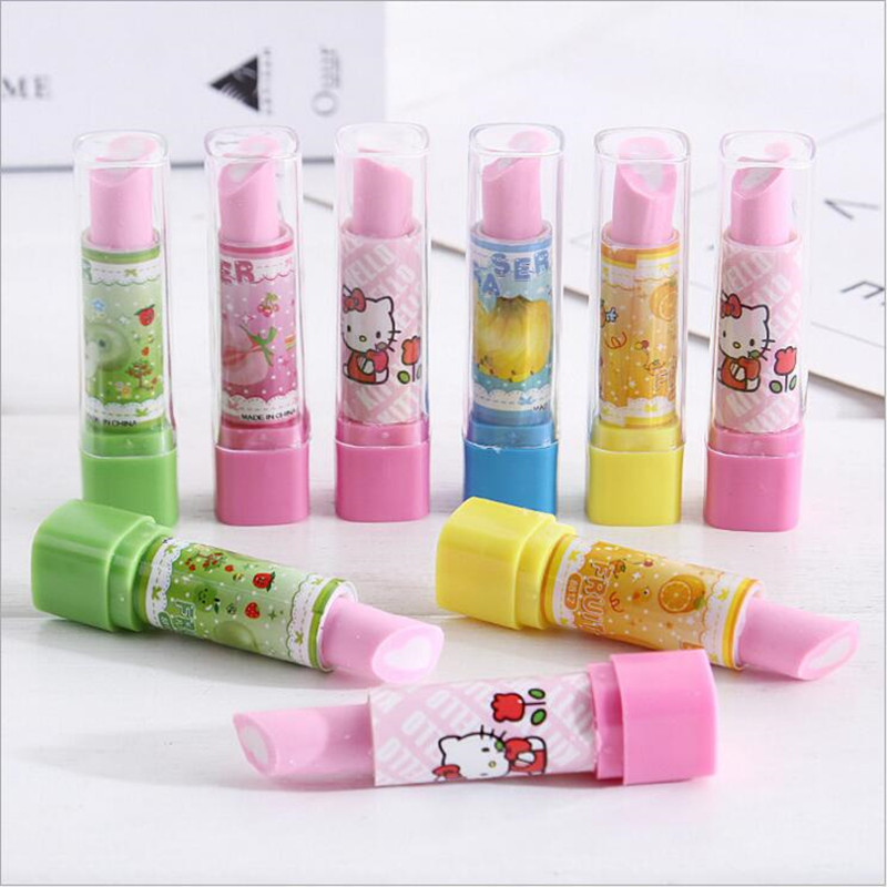 1pc/lot Cute Kawaii Lipstick Design Eraser Special Rubber Remover Effectively Cleaner Student Prize Office School Supplies