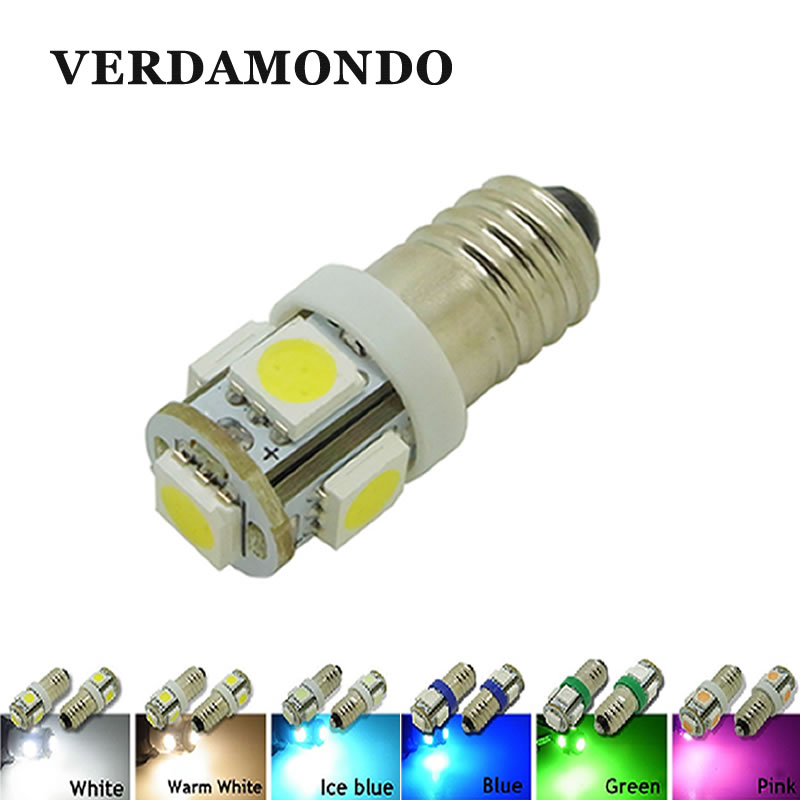 E10 5050 5 SMD LED Light Car Tail Reverse Reading Clearance Lamp Warm White Ice Blue Pink Green Auto Indicator Bulb DC 12V