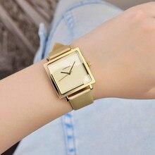 2017 Marca de Relojes de Cuarzo Mujeres Del Reloj de Oro Cuadrado Pulsera De Cuero Casual Relojes de Moda Señoras reloj mujer montre femme