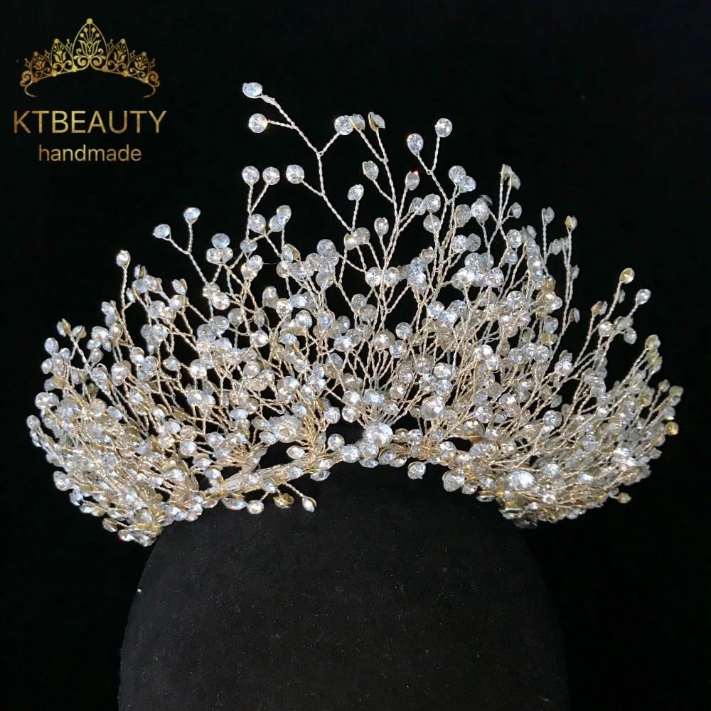 News Rhinestone Crystal Tiara Silver Gold Tiara Fashion Headpieces Royal  Bridal Wedding Dressing Crown Accessory Women Jewelry-in Hair Jewelry from  Jewelry ... 8803d7cc3327