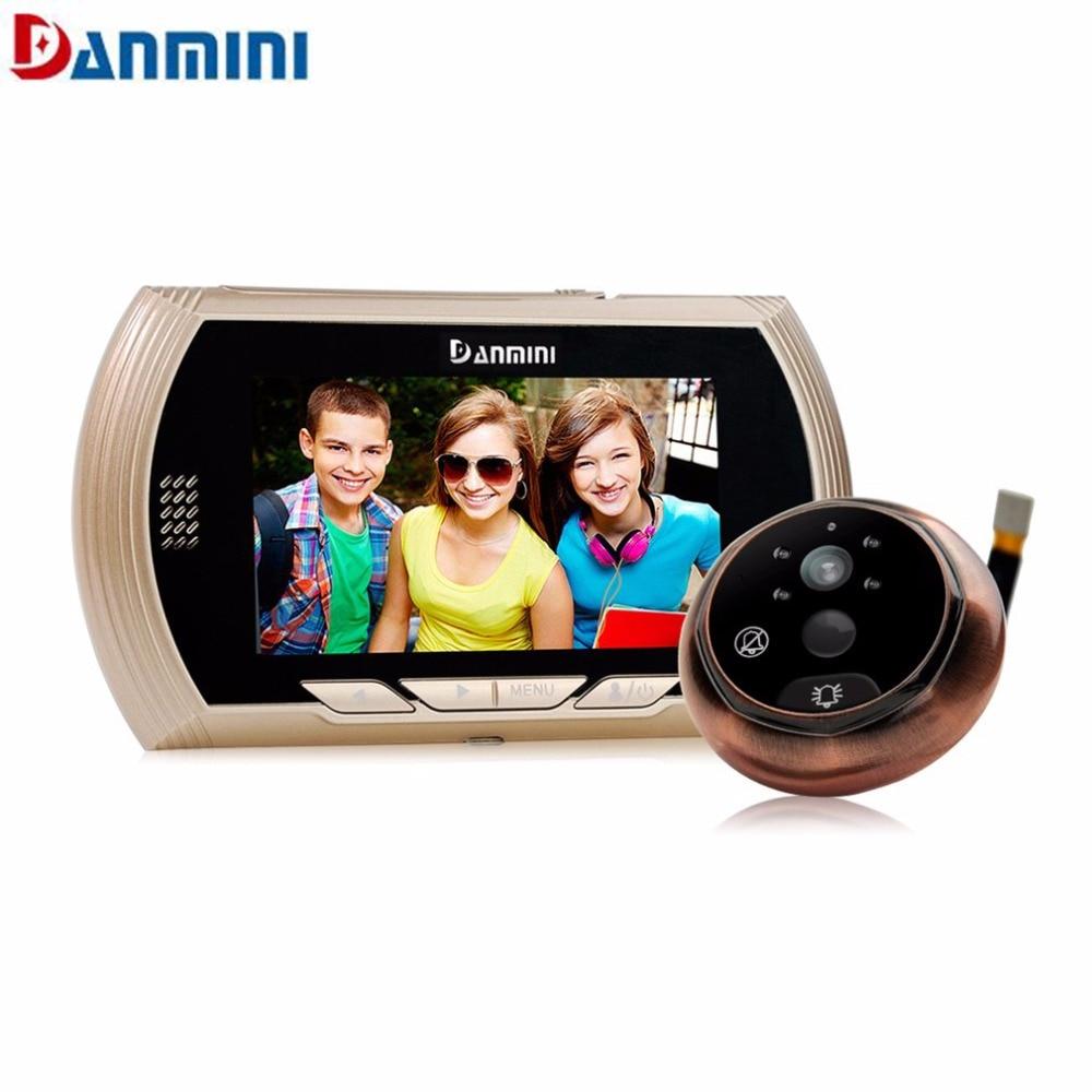 Danmini 4.3 дюймов LED Экран Скрытая электронный кошачий глаз Ночное видение обнаружения движения Камера Дверные звонки не беспокоить глазок