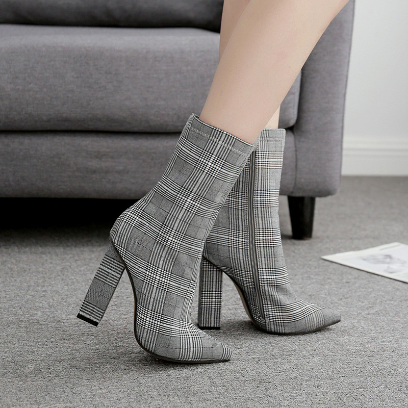 Mediados Las Gray En Tamaño Plaid Chunky Mujer Sexy Vintage Tacones Zapatos Mujeres 11cm Otoño De La Señoras Más Pantorrilla Punta Bombas Altos Para Invierno rBrF6q