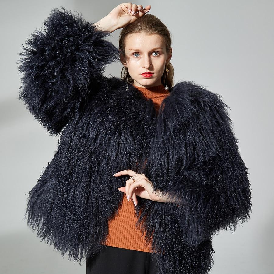 Femmes en peau de mouton manteaux réel fourrure courte veste de fourrure d'agneau manteau de fourrure véritable fourrure de mouton manteau d'agneau 60 cm