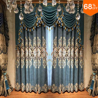 2017 Free Shipping Luxury Embroidery Curtain Green Blue Polis Brand drape extreme blackout drapery new design for widnow W 2.5 M