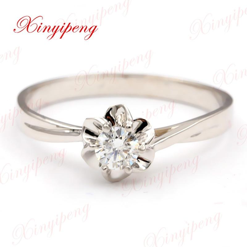 Xin yi Пэн 18 К кольцо из белого золота с инкрустацией природных алмазов кольцо женщина, брак обручальное подарок