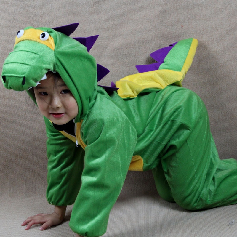 Cosplay Animal Costume Kids Imitating realistic green Dinosaur clothing for stage performance Carnival party game