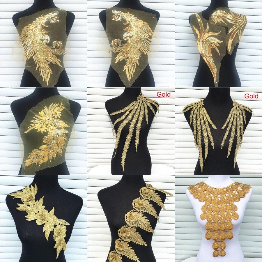 1 Pc Gold Farbe Venise Spitze Stoff Kleid Applique Motiv Bluse Nähen Borte DIY Ausschnitt Kragen Kostüm Dekoration Zubehör