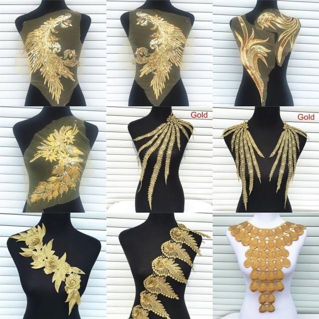 1 шт Золото Цвет кружевной воротник ткань платья аппликационный мотив блузка декоративное шитье DIY декольте воротник костюм украшения Аксессуары
