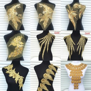 1Pc Gold Color Venise Lace Fabric Dress Applique Motif Blouse Sewing Trims DIY Neckline Collar Costume Decoration Accessories