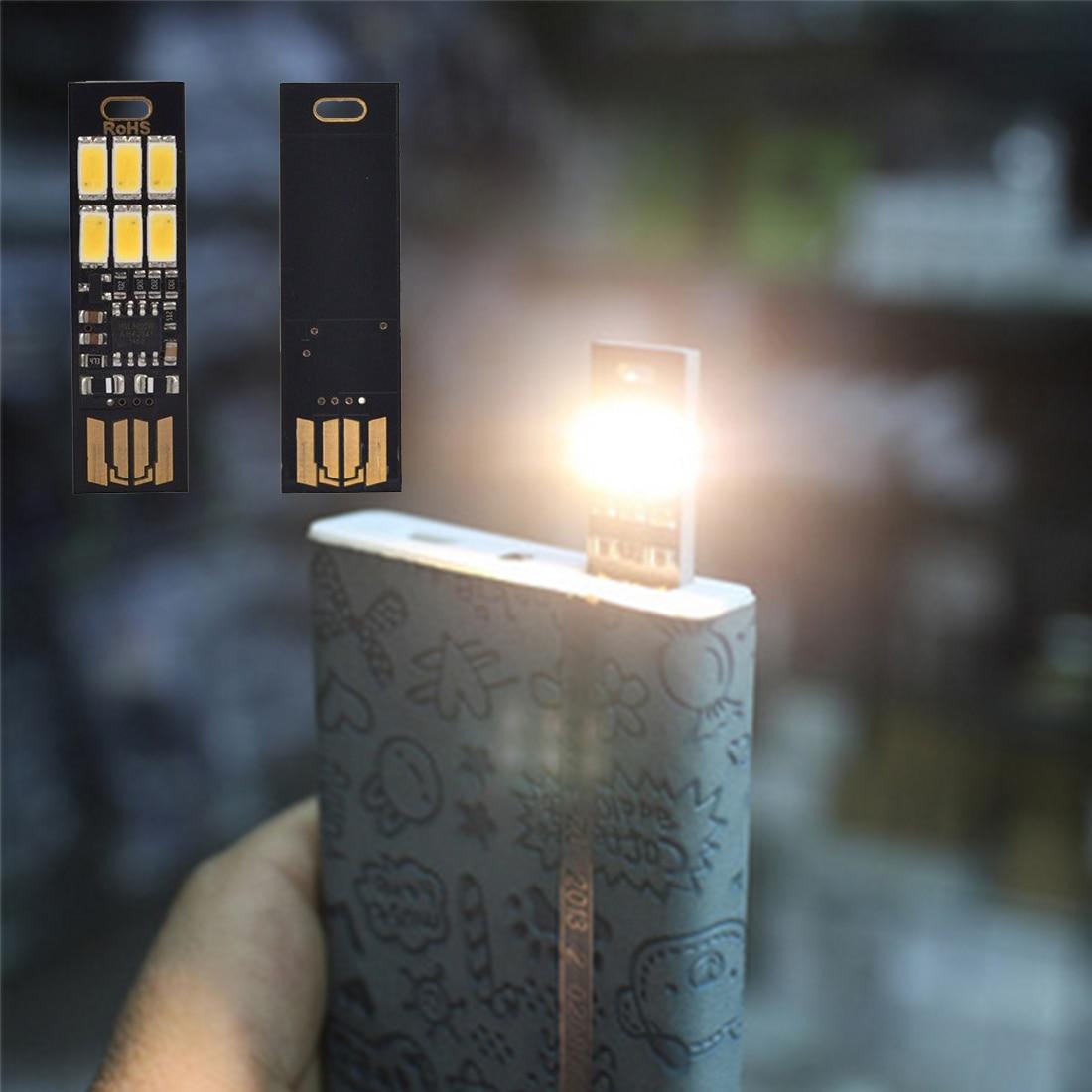 Portable Mini Adjust Brightness 6 LED Night Lights Finger Touch Lamp Dimmer Pocket Card USB Power For Computer Laptop