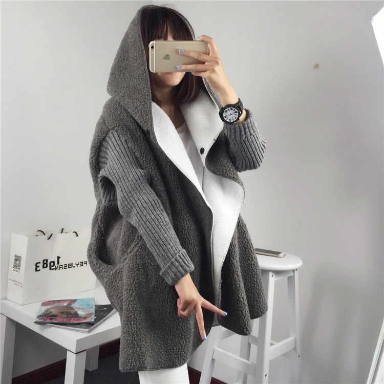 가을 겨울 여성 스웨터 카디건 긴 단락 패션 양고기 머리 두꺼운 부드러운 느슨한 후드 자켓 솔리드 컬러 따뜻한 와일드 코트