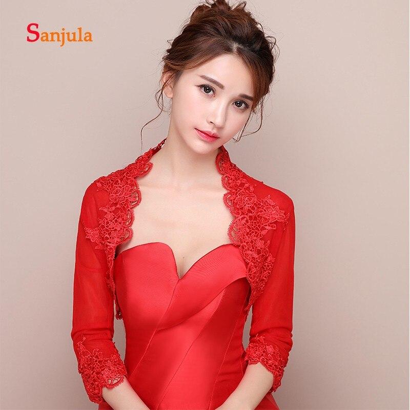 Three Quarter Sleeve Red Wedding Jacket/ Wraps Bride Lace Appliques Elegant Women Evening Capes Ivory Bolero Femme W30
