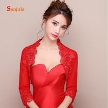 Three Quarter Sleeve Wedding Jacket Red Wraps Bride Lace Appliques Elegant Women Evening Capes Ivory bolero femme W30