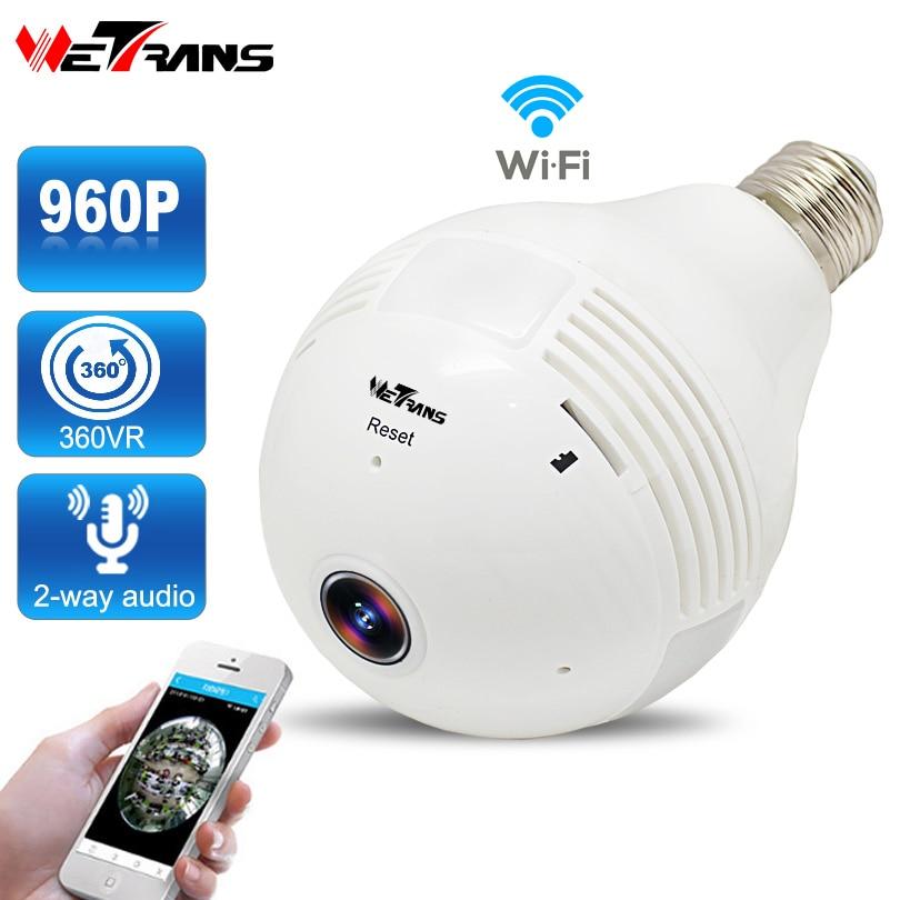 Лампочки Беспроводной IP Камера видеонаблюдения HD 960 P P2P Fisheye 360 градусов панорамный полный вид аудио Wi-Fi Home Security камера