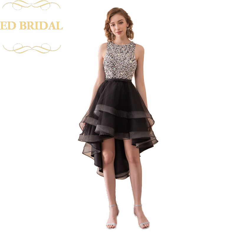 Sequined Beaded Tulle High Low Prom Dress with Keyhole Back robe de soiree abendkleider