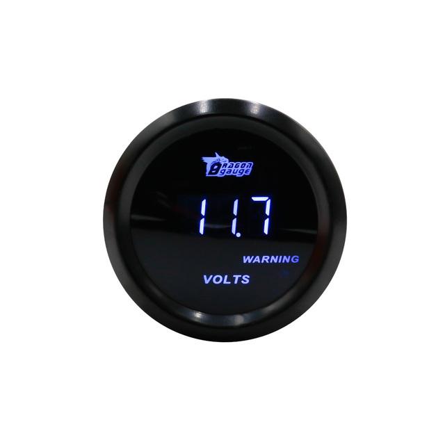 """2 """"52mm caixa preta medidor Digital volt calibre auto/corrida volt gauge/car voltímetro medidor/voltimetro"""