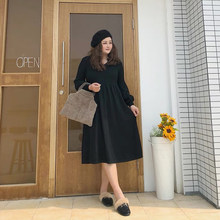 ALAN Fat MM Knitted Dress Slim Sweater Skirt Overlap Long Skirt Children Autumn and Winter Large Size Women's Wear(China)